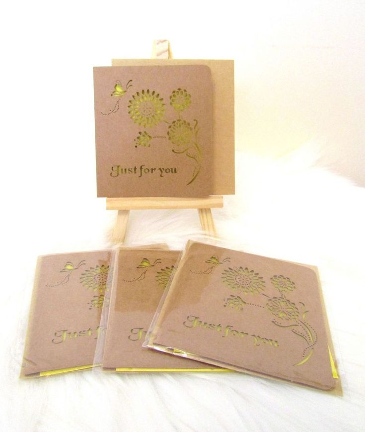 NEW 4 Sets Mini Laser Cut Out Flower & Butterfly Gift Cards & Envelopes Yellow