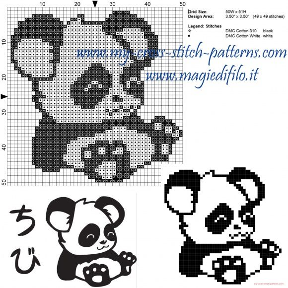 Little panda cross stitch pattern