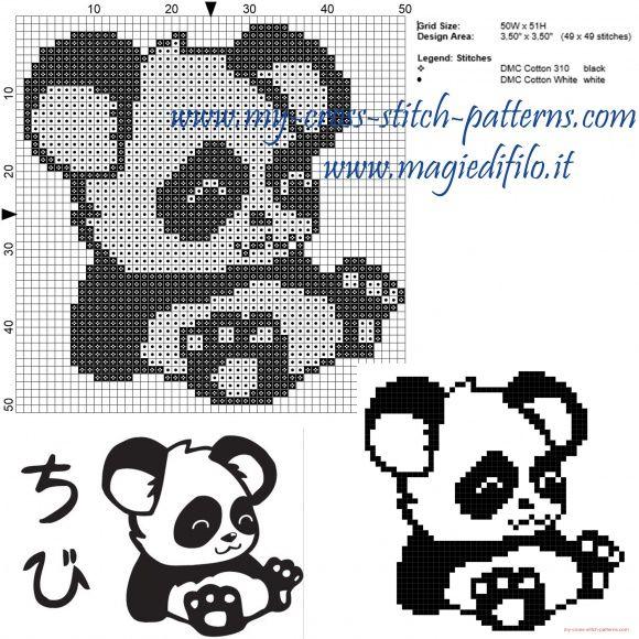 Petit panda grille point de croix