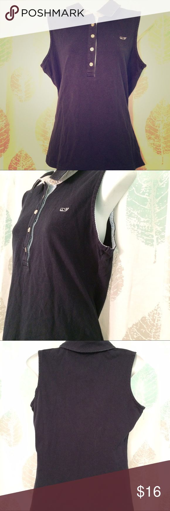 """VINYARD VINES sleeveless polo shirt navy SZ M Sweet navy blue 5-button polo shirt Sleeveless with blue/white striped fabric along button panel and arm holes Signature buttons Embroidered whale logo on bust Cotton spandex Size 10 Pit to pit 19"""" Length 25.5"""" Very good condition Vinyard Vines Tops Blouses"""