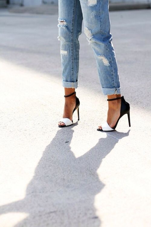black and white heels with distressed denim