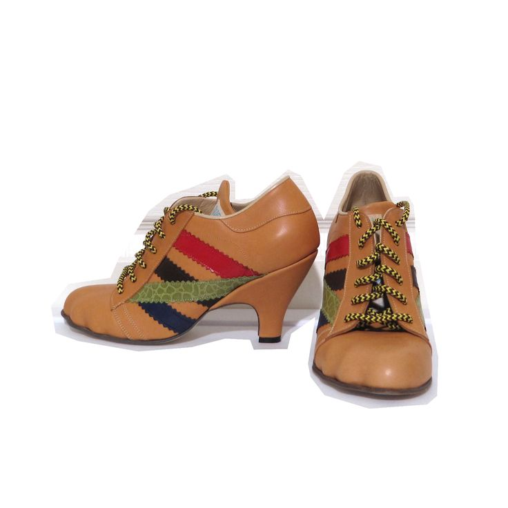 Vivienne Westwood Worlds End Gold Label Tracy Trainers in Natural x Multicolor Leather