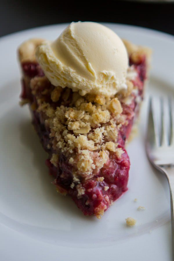 Mixed Berry Streusel Pie:  Good!  Try cooking on bottom rack at 405 to get the bottom nice and cooked.