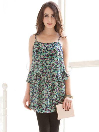 #Milanoo.com Ltd          #Mini Dresses             #Sweet #Green #Floral #Print #Layered #Straps #Neck #Polyester #Short #Dress  Sweet Green Floral Print Layered Straps Neck Polyester Short Dress                                      http://www.seapai.com/product.aspx?PID=5757907