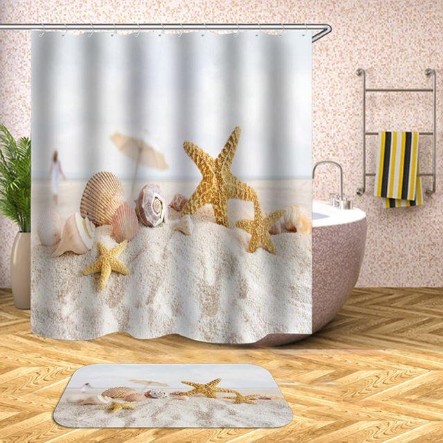 Waterproof Shower Curtain Beach Shell Sea Bath Curtains For