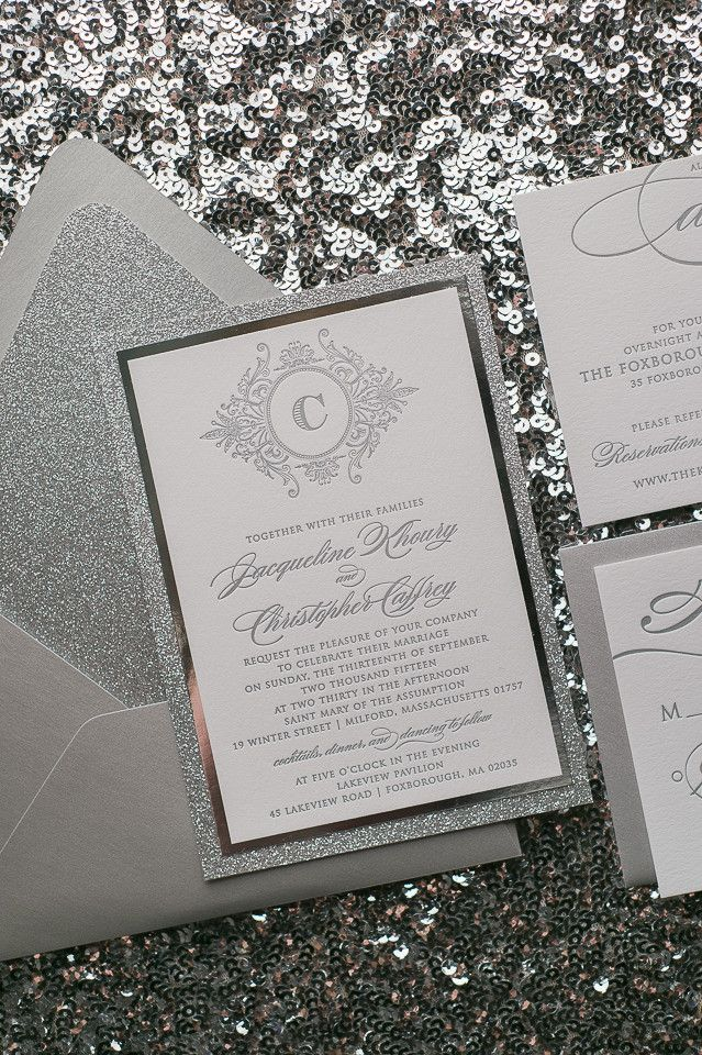 ABIGAIL Suite // STYLED // Fancy Glitter Package, glitter wedding invitations, silver and white, monogram, traditional, modern, script text