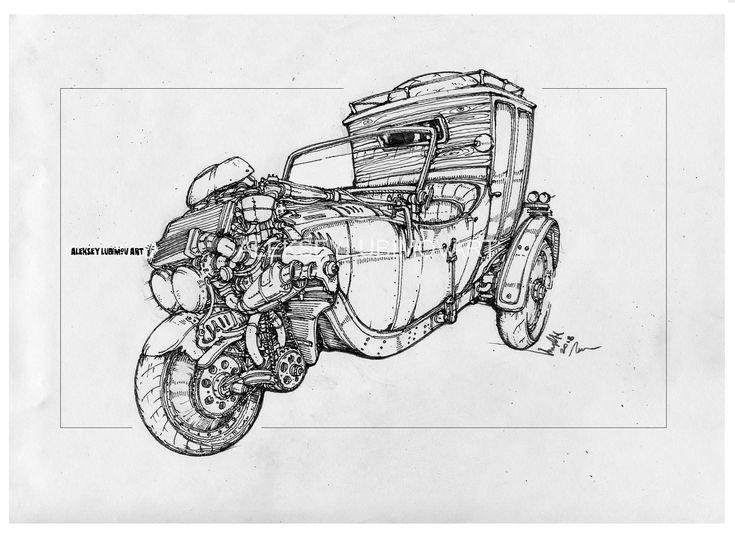 #threewheeler/Author Aleksey Lubimov. #alekseylubimov_art #алексейлюбимовбиомеханика #алексейлюбимов #стимпанк #дизельпанк #биомеханика #marchofrobots #steampunk #dieselpunk #biomechanical #lineart #engine #motor #inktober2018 #technodoodling