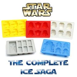 Get the complete collection of Star Wars ice cube trays with the Star Wars The Complete Ice Saga set  Featuring ice cube molds of Darth Vader  Storm Troopers  X Wing Fighters  Han Solo and R2 D2  Each high quality silicone tray is perfect for making ice cubes as well as mini chocolates and jelly molds   39 95