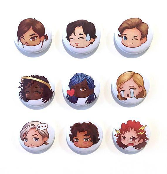 Lunar Chronicles emoji Pin back buttons by Kat Adara