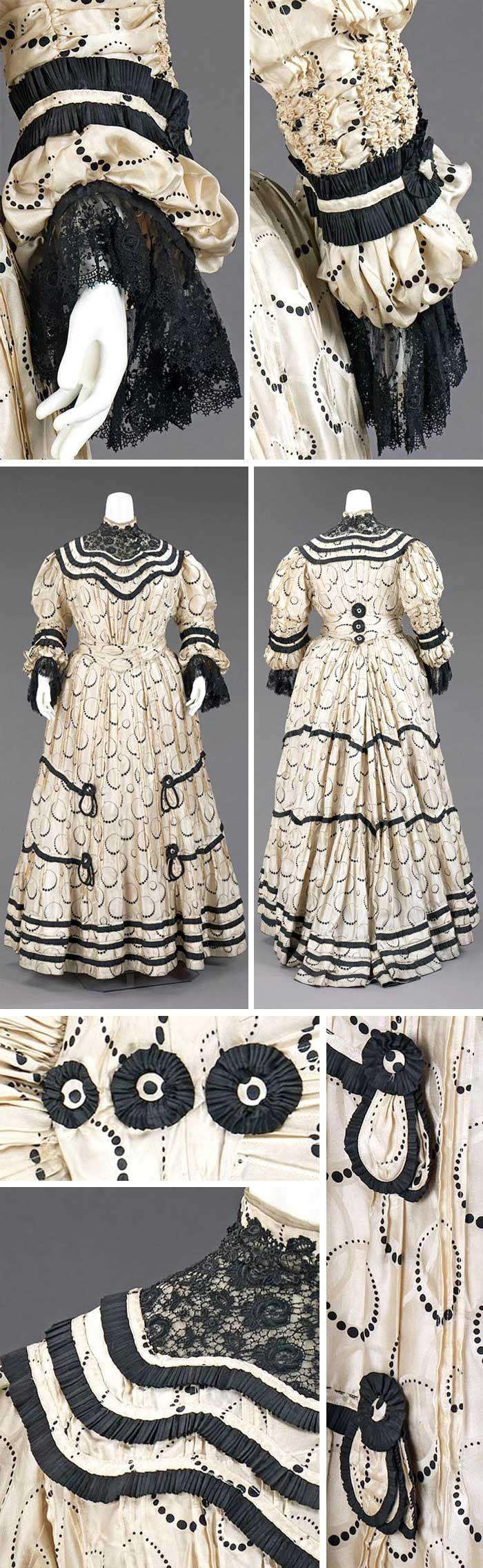 "Afternoon dress, Terhune, New York, ca. 1905. Silk. Metropolitan Museum of Art: ""This afternoon dress … differs in quality and construction from that of the French couture, but it has a distinctively jaunty feel and effective presence. The graduated dot motif of the textile has a particularly modern sensibility."""