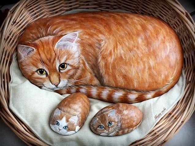 Image result for cats painted on rocks and pebbles