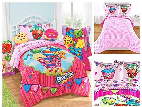Brighten their room with this #Shopkins #Bedding - 4 piece bed in a bag set. Coordinate with fun Shopkins room decor!