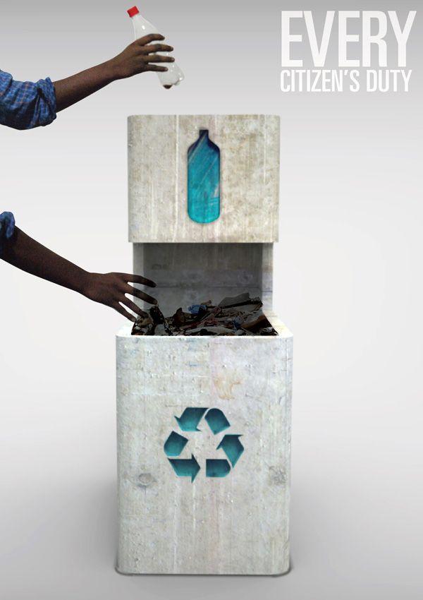Concrete Rubbish Bin. Encourage people to segregate and recycle trash,