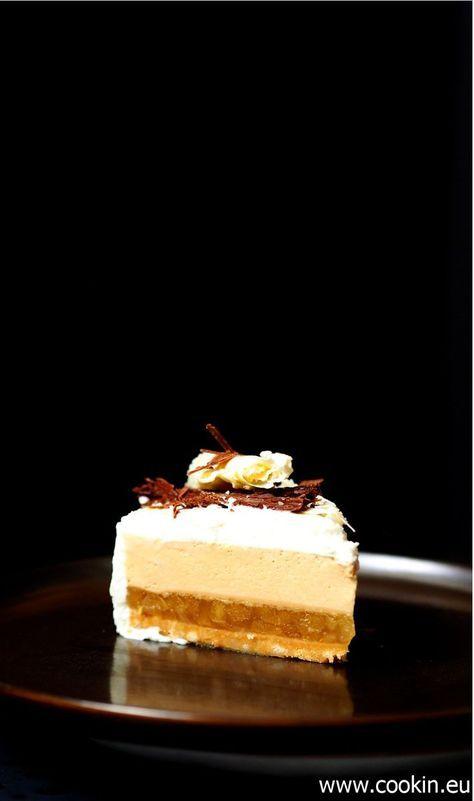 Apfeltarte mit Creme aus karamellisierter weißer Schokolade und Haselnuss -…   – Torten