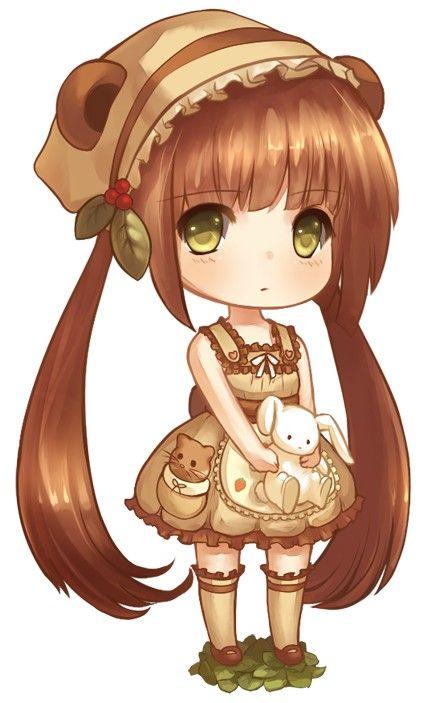 Chibi girl, Cute, Kawaii, brown hair