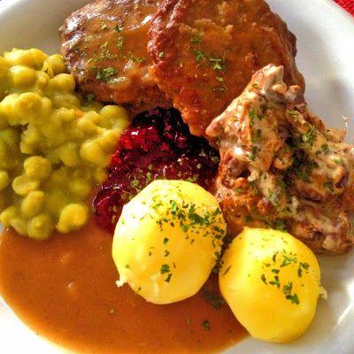 Guttas Kjøkken: Elgkarbonader i brun saus med ertestuing, soppstui...