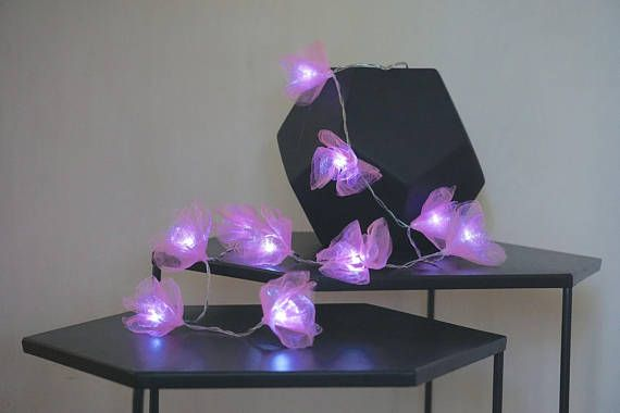 LED Flower Fairy Lights ; Pink ; string lights;Battery operated by DressMeFloaral  Beautifull fairy lights can brighten any part of home.  party or wedding decoration