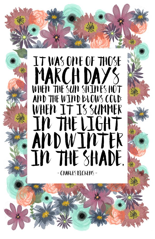 """It was one of those March days when the sun shines hot an the wind blows cold: when it is summer in the light and winter in the shade."" - Charles Dickens"