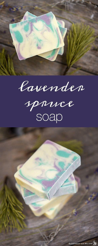 How to Make Lavender Spruce Soap #soapmakingbusinessskincare