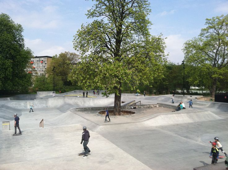 Fælledparken Skatepark, designed by Nordarch. Fælledparken is one of the larger parks in Copenhagen and is known for its wide open space, perfect for playing soccer, frisbee, grilling, etc.