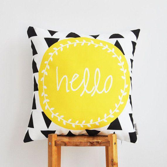 """Geometric Pillow, Yellow Kids Pillow, Decorative Pillow, Modern Teen Pillows, Nursery Pillow, Throw Pillow 16"""" x 16"""" - Love Joy Create"""