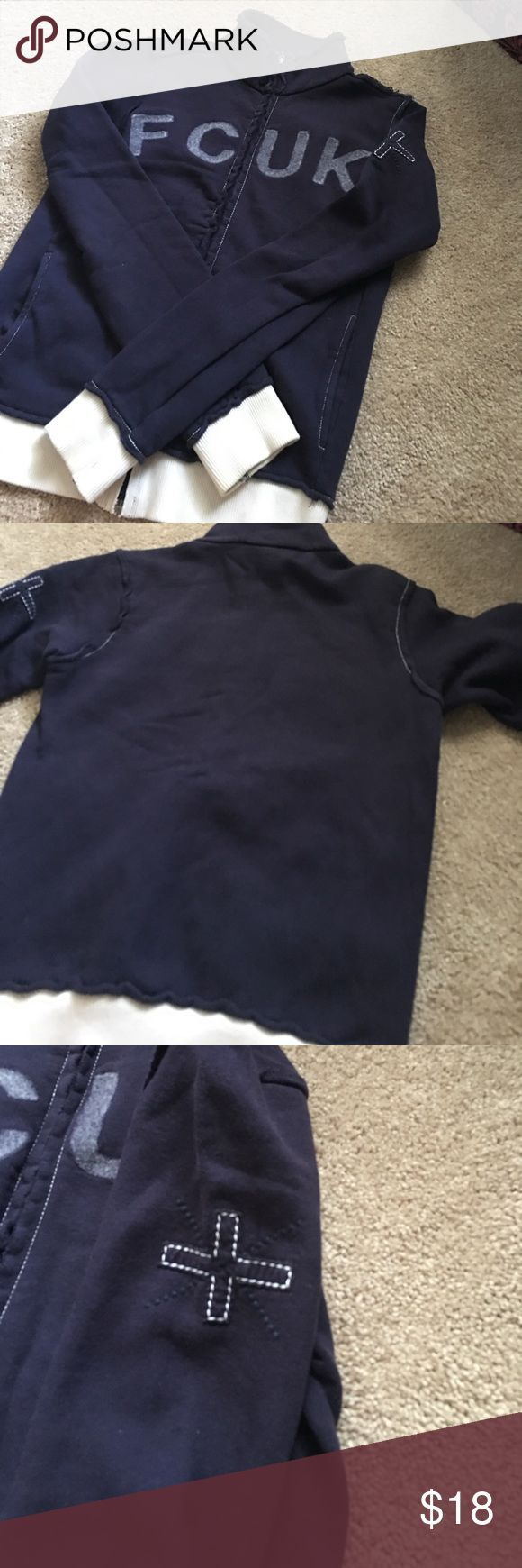 French Connection zip up sweater Zip up sweater. Navy blue with off white waist and wrist trim. Two front pockets. Women's small. Warm. Missing zipper tab as shown in picture. French Connection Sweaters