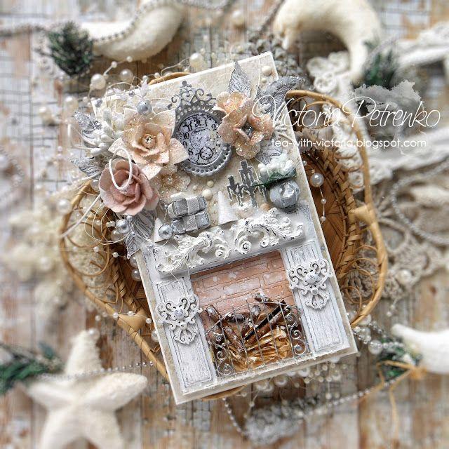 За чашкой чая: Новогодняя шебби открытка с камином / Christmas shabby chic card with chimney