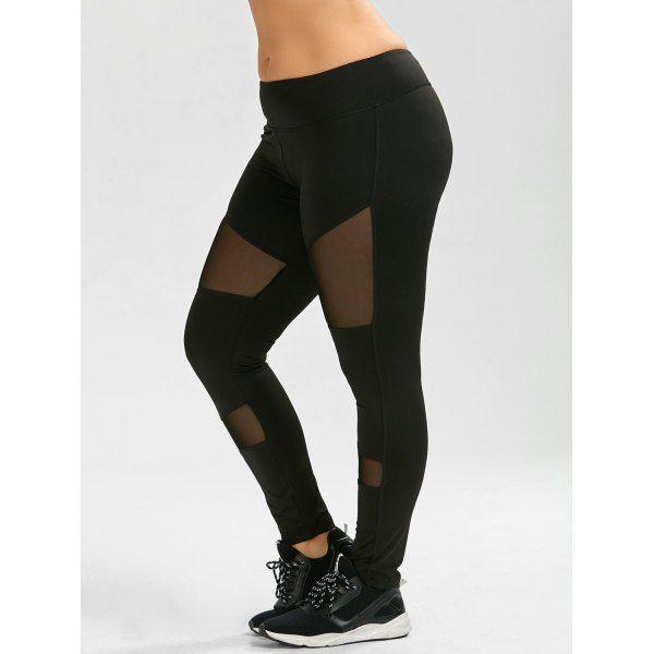 $18.33 Plus Size Sheer Mesh Panel Ankle Yoga Leggings - Black - 5xl