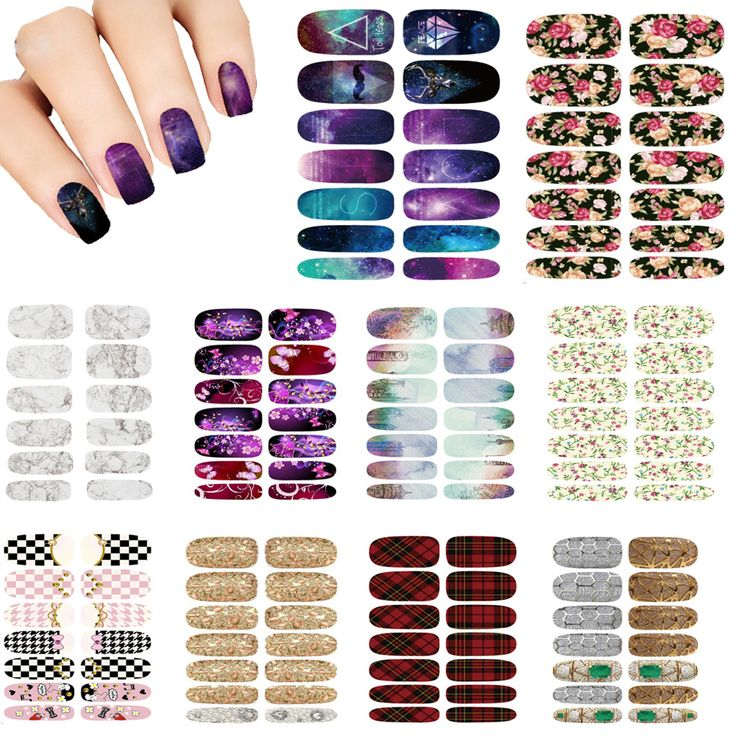 Fashion 10pcs Set Nails Art Transfer Foil Wraps butterfly 3D Harajuku style grid Mystery Galaxies Nail Sticker Decals wholesale