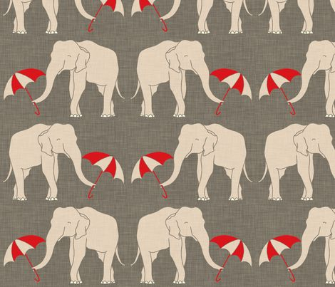 elephant_and_umbrellas fabric by holli_zollinger on Spoonflower - custom fabric