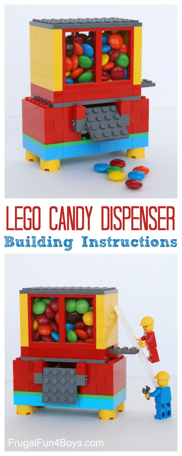LEGO Candy Dispenser Building Instructions - Dispense M&M's or a similar candy with this working LEGO candy machine.