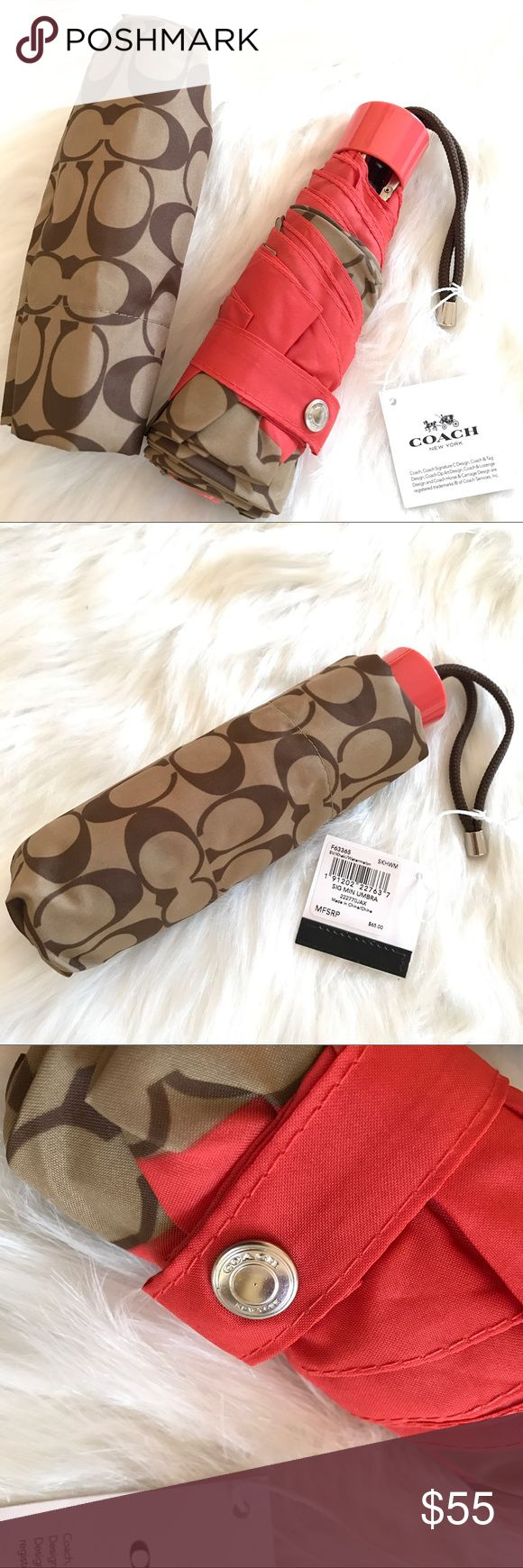 COACH SIGNATURE LOGO KHAKI COMPACT UMBRELLA New with tag,Coach Mini Fold umbrella Coach Accessories Umbrellas