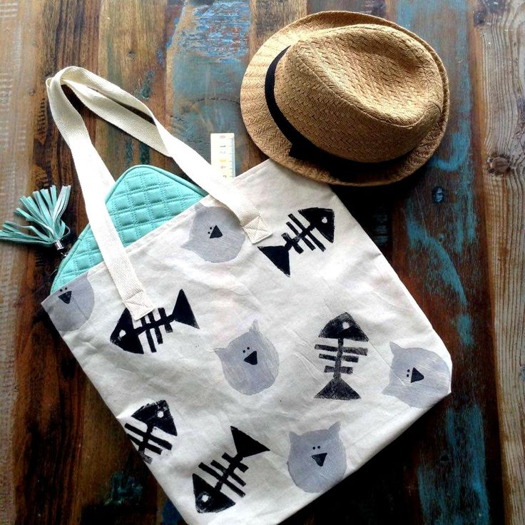Tote Bag - Fish Skeleton Tote Bag  - Cats Tote Bag - Block printed - Beige cotton Tote Bag - Handprinted Tote Bag by UniqueLulu on Etsy