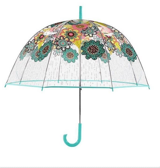 VERA BRADLEY Flower Shower BUBBLE UMBRELLA Summer Clear Rain Day Gear NEW $40