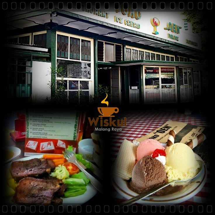 "Wisata Kuliner Malang Raya ""Toko Oen""  Gerai ini sudah ada sejak zaman Belanda, menyuguhkan aneka eskrim yang nikmat rasanya. Tutti Fruity Cassata, Sparkling Delight dan Morkus adalah tiga jenis es krim andalan toko Oen dari sekian banyak es krim lainnya. Toko Oen juga menyuguhkan varian menu makanan dari steak, cake & tart, nasi goreng, chicken salad hingga aneka kue kering khas tempoe doeloe.Penasaran kunjungi di jl. Basuki Rahmat No 5, Malang"