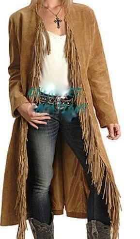 Ladies Handmade Western Suede Leather Fringe Riding Jacket