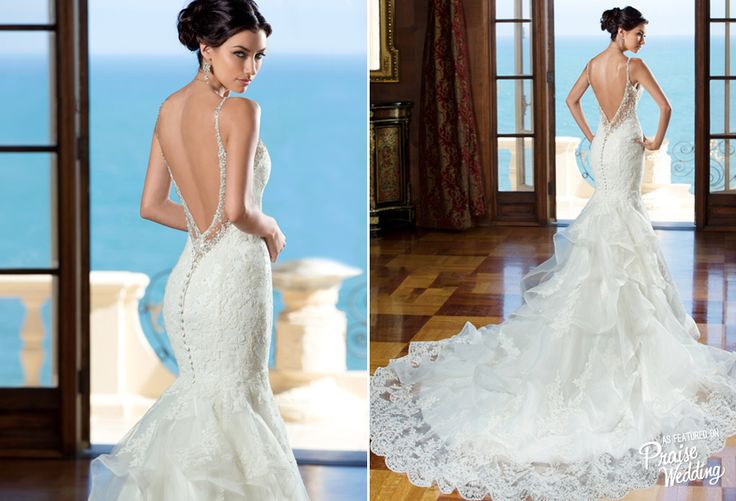 This Kitty Chen 2015 fitted wedding gown is so chic with a touch of glam!