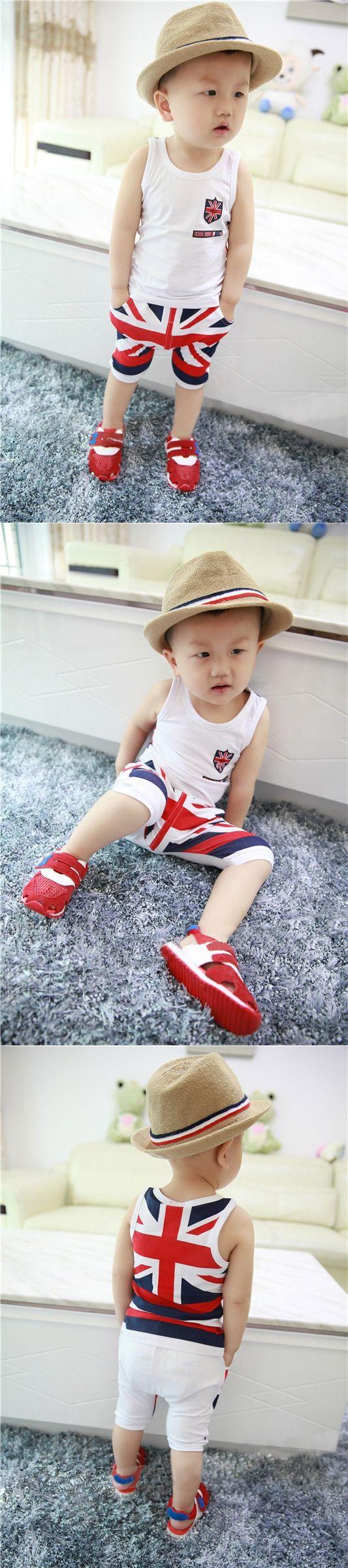 boys clothes UK flag Vest + Short baby boy set summer style 2017 children's sets kids clothing 0-4 years old