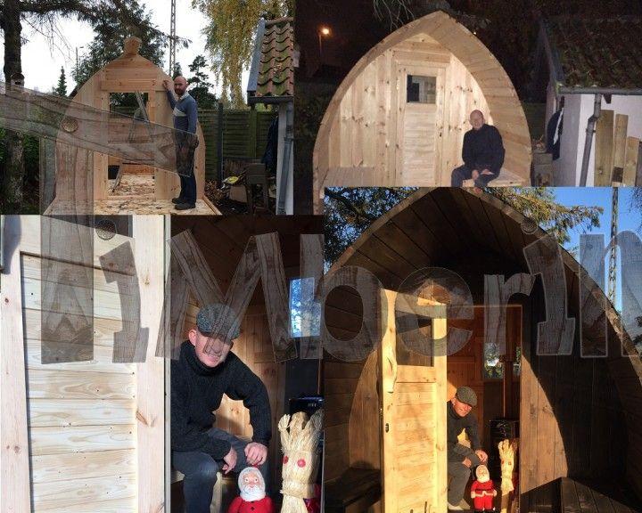 Vores sauna er 3 meter med udendørs terrasse. Den er udført i ubehandlet fyrretræ. Jeg besluttede mig for at give min mand en udendørs sauna til hans 50-års fødselsdag. Efter grundige undersøgelser og besøg på mange web sites, valgte jeg at bestille saunaen hos TimberIn. Det var et godt valg. Forløbet fra bestilling, betaling og levering var meget professionelt håndteret af TimberIn.