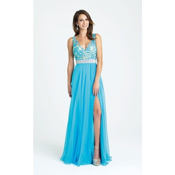 Madison James 16321 Evening Dress Long V-Neck Sleeveless ($430) ❤ liked on Polyvore featuring dresses, formal dresses, turquoise, long lace evening dress, lace formal gown, long evening gowns, long dresses and formal gowns