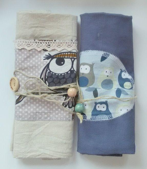 Rustikk strikkepinne mappe - Ugler og lin