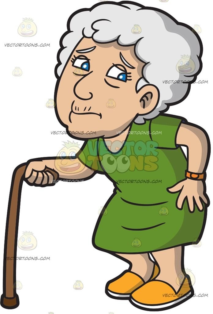 An Old Woman Experiencing Pain While Walking Cartoon