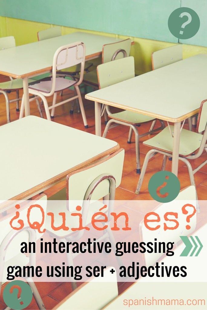Fun guessing game for practicing ser and adjectives in Spanish! Modify to play with people in the classroom/school