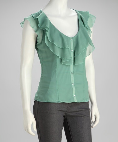 Take a look at this Misty Jade Ruffle Button-Up Top by Tulle on #zulily today!