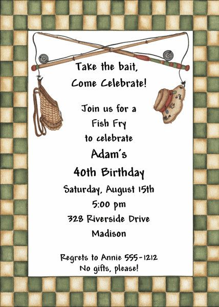 Adult Birthday Invitations Fish Fry ABI364 DIY By