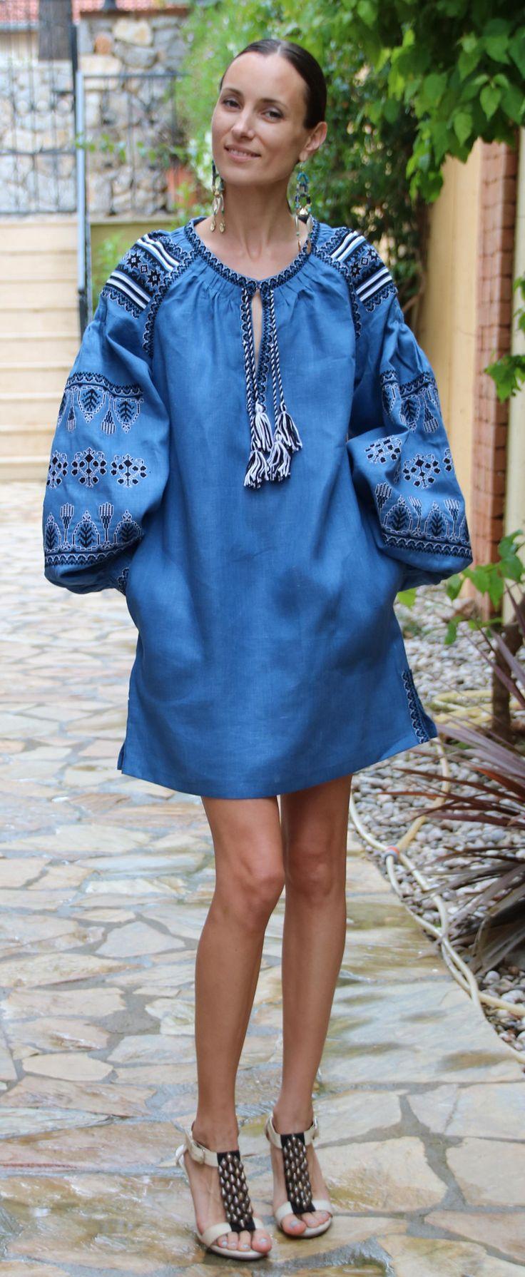 Dark denim Blue Vita Kin style linen Belted TUNIC vyshyvanka dress white black Embroidery. Sizes - XS-XXL TN015-001