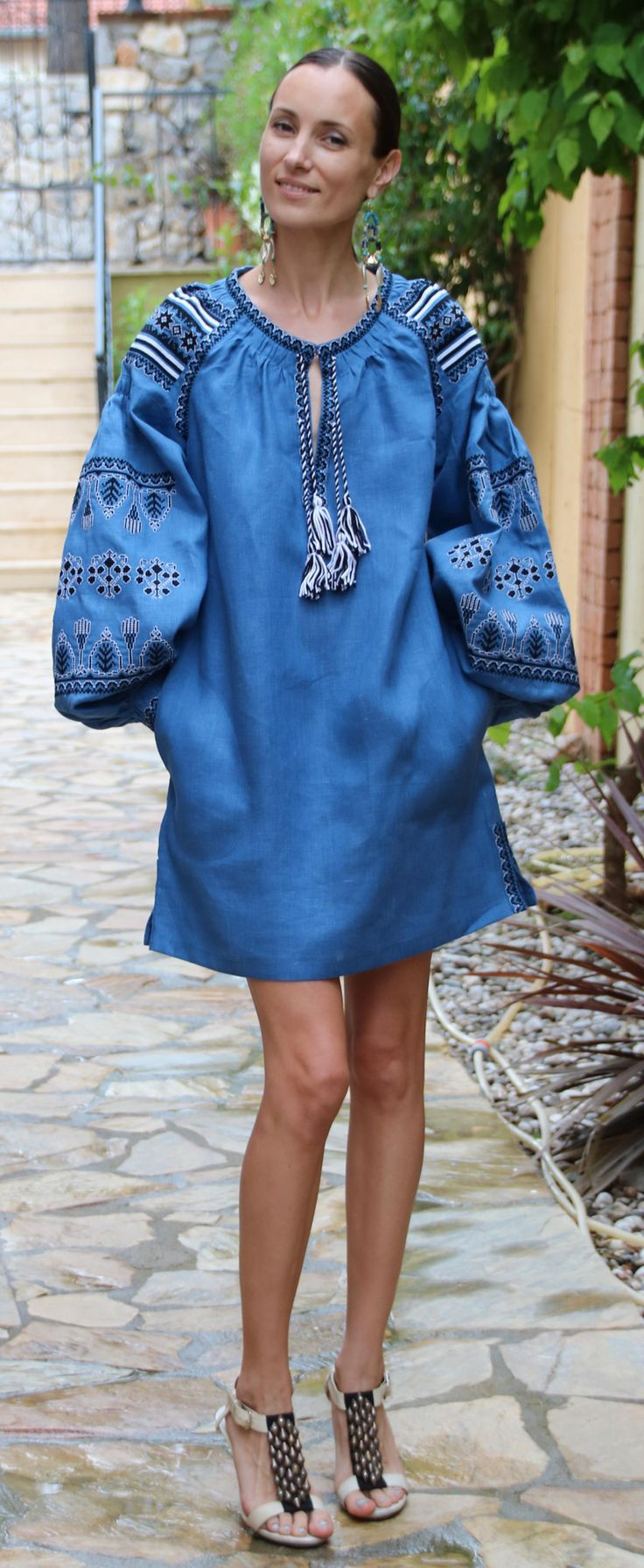 Dark denim Blue Vita Kin style linen Belted TUNIC vyshyvanka dress white black Embroidery. Sizes - XS-XXL TN015-001