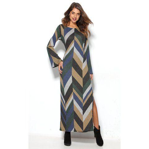 Robe longue en côtes imprimé géométrique femme