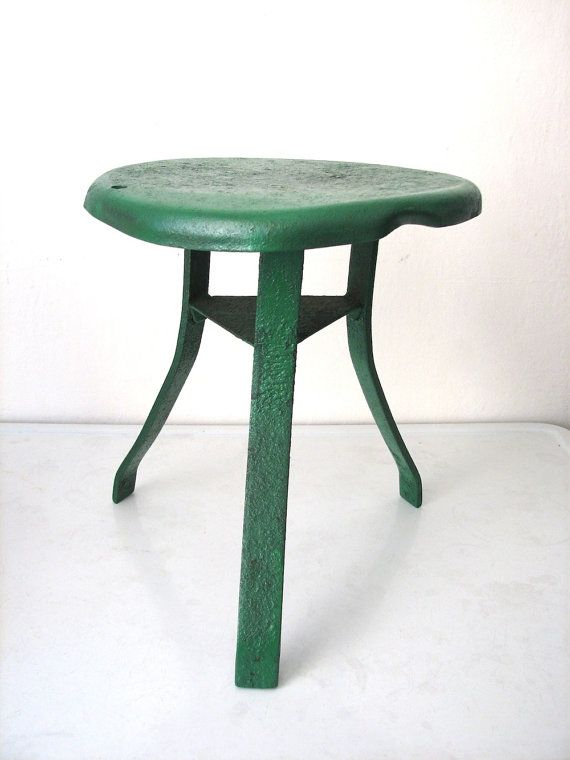 Milking Bench Part - 32: Vintage Green Metal Milking Stool