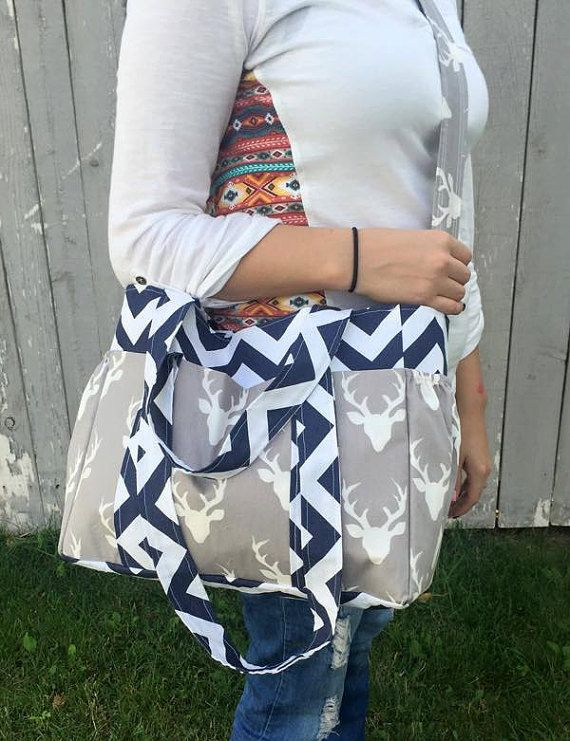 Diaper Bag Chevron and Deer Navy and Grey by SewSweetBabyDesigns